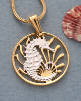 "Seahorse Coin Pendant, Hand Cut Singapore Seahorse Coin, 5/8"" in Dia., ( # 295 )"