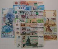 ✔ Russia 5 10 50 100 200 500 1000 2000 5000 rubles 1997 2018 Full Set UNC 12 Pcs