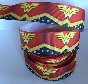 YARD WIDE WONDERWOMAN COMIC SUPERHERO CHARACTER GROSGRAIN RIBBON