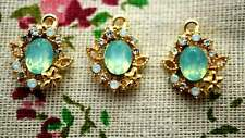 Oval jewel green 2 charms gem gold jewellery supplies C1152