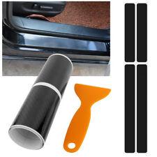 🔥 4PC Carbon Fibre 3D Car Door Sill Scuff Protector Plate Sticker Cover Tool UK