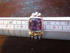 Sterling Silver Amethyst Ring Size 7 Purple Solitaire Cushion