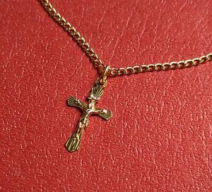 Kreuz Anhänger + Goldkette Echt Gold 333 Gelbgold Juwelier Neuware Jesus INRI