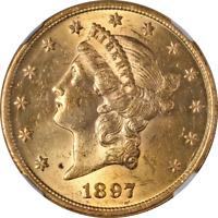 1897-P Liberty Gold $20 NGC MS62 Nice Eye Appeal Strong Strike
