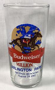 Arlington Park Horse Racing Budweiser Beer glass Bill Shoemaker  8/29/1982