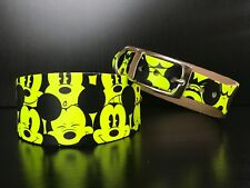 Small-medium Leather Dog Collar Whippet Greyhound FLUORESCENT YELLOW Mousey