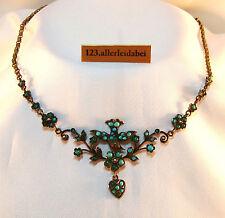 Türkis Collier Türkis Kette Collierkette Silber old turquoise necklace / AZ 291