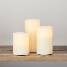 Set Of 3 Battery Operated Wax Flickering LED Church Pillar Candles with Timer