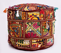 Pouf Ottoman Round Pouf Indian Poof Pouffe Foot Stool Floor Pillow Ethnic Decor
