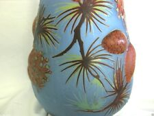 19in. PINE CONE GALLE & DAUM LIKE ACID ETCH TALL VASE W/ PUSH OUTS & 3-D DESIGN
