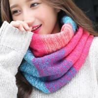 Women Winter Warm Knit Rainbow Snood Scarf Neck Wrap Cable Shawl Circle Q