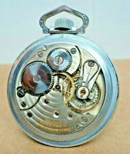 "1920 Omega Swiss~Cal.19~ 17J~16S Railroad Watch ~Adj.2Pos.~2"" Train Scene Case"