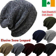 Women Men Winter Black Knitted Oversized Ski Slouch Baggy Beanies hat Cap