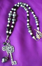 Statement beaded necklace key flower dangle, large flower toggle clasp