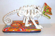 "Mexican Talavera Hand Painted Carmeleon Skeleton Effigy Collectible 15"" Long"