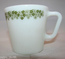 Corning  Pyrex Spring Blossom Green Crazy Daisy Milk Glass 1 Coffee Tea Mug Cup