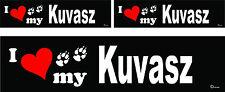 3 I love my Kuvasz dog bumper vinyl stickers decals 1 large 2 small