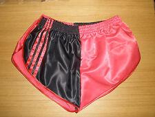 nailon Satén Sprinter Pantalones cortos DOS TONOS ROJO / Negro Con Rojo Acento,