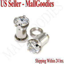 1257 Screw-on / fit Clear Solid CZ Prongs Ear Plugs Retainers 2 Gauge 2G 6mm