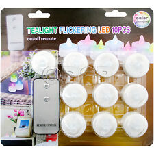 10pc Flameless White Mini LED Tealights With Remote Control Batteries Included