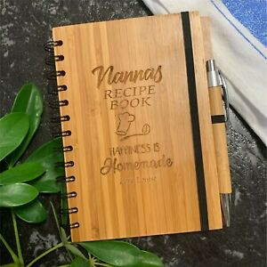 Personalised Mothers Day Engraved Bamboo Recipe Book With Pen - Notebook for mum