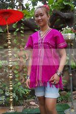 Thai Vintage Tops Hill Tribe Karen Bohemian Antique Women Clothing Pure Cotton