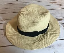 EUC Olive & Pique Straw Hat Wide Brim Sun Woven Natural Fiber Adjustable