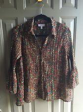 Fashion Bug Shirt Blouse Button Down 3/4 Sleeve Color Multiple Seethru Size XL