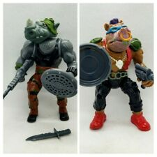 Vintage 1988 TMNT Bebop Rocksteady Ninja Turtles Figures Lot with Accessories