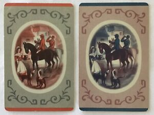 Vintage Swap Playing Cards-HORSES. A BREAK FROM THE HUNT.