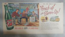 7-Up Ad: Fresh Up With Seven-Up! Family Camping ! from 1940's  7.5 x 15 inches