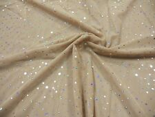 LT NUDE MESH 4-WAY LYCRA with SLVHOLOGRAM SEQUIN DOTS-DANCE COSTUME FABRIC 9.5YD