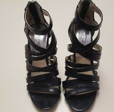 MICHAEL KORS BLACK LEATHER STRAPPY SANDALS/HEELS SIZE 6.5 M