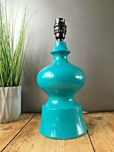RETRO 70'S TEAL SCANDINAVIAN STYLE BULBOUS HOOPED GOURD PLASTER TABLE LAMP 60'S