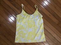 Lucy Activewear Women's Yellow / White Athletic Tank Top Built In Bra Size M