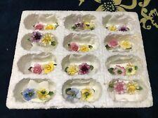 Vintage COALPORT Bone China Place Card Holders Set of 12 Flowers