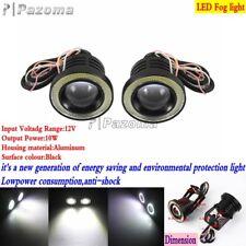 Universal Motorcycle LED Halo Angel Eye Headlight Headlamp Fog Light Lamp Black