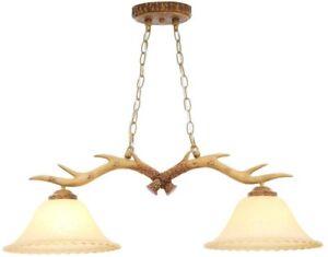 2-Light Natural Antler Island Light Hanging Lighting Glass Fixture Rustic Charm