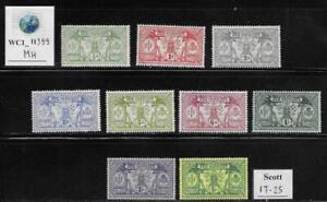 WC1_11399. BRITISH COL.-NEW HEBRIDES. 1911 cplt. set. Scott 17-25. MH