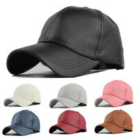 Unisex Adjustable Baseball Caps Men Women PU Leather Hat Plain Sun Snapback Hats