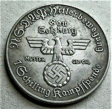 WW2 GERMAN COMMEMORATIVE 1 SCHILLING COLLECTORS COIN   A HITLER NSD AP