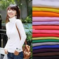 Women Turtleneck Long Sleeve Sweater Knitted T-Shirt Knitwear Pullover Jumper