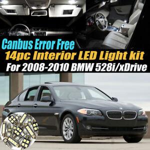 14Pc Error Free Interior LED White Light Kit for 2008-2010 BMW 528i/xDrive