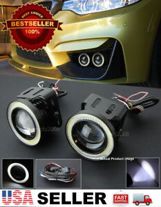 """3"""" White DRL COB LED Halo Ring Projector Fog Light Lamp + Wire For Mercedes Benz"""
