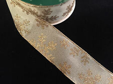 "50 Yards! Christmas Gold Snowflakes Wired Ribbon  2.5"" Wide Wholesale Lot Bulk"
