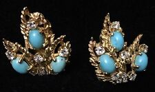 Estate 14K Yellow Gold Earrings - Turquoise with Diamonds