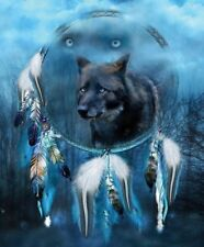 Native American Midnight Wolf Dream Catcher 8.5x11 Matte Art (Read Below)