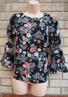 G21 BLACK ORANGE WHITE FLORAL FLARE LONG SLEEVE BAGGY BLOUSE TUNIC TOP 8 S