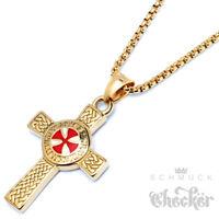 Vergoldetes Templer Kreuz Kreuzritter Anhänger Herren Halskette gold Edelstahl