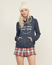 Abercrombie & Fitch Womens Embroidered Logo Hoodie Jumper XS Navy NWT
